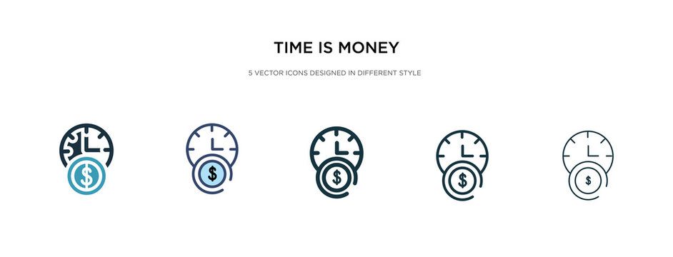 time is money icon in different style vector illustration. two colored and black time is money vector icons designed in filled, outline, line and stroke style can be used for web, mobile, ui