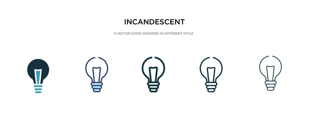 incandescent icon in different style vector illustration. two colored and black incandescent vector icons designed in filled, outline, line and stroke style can be used for web, mobile, ui