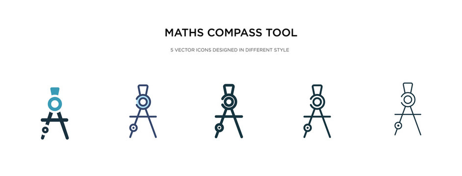 maths compass tool icon in different style vector illustration. two colored and black maths compass tool vector icons designed in filled, outline, line and stroke style can be used for web, mobile,
