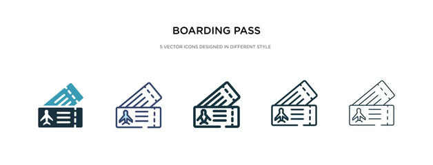boarding pass icon in different style vector illustration. two colored and black boarding pass vector icons designed in filled, outline, line and stroke style can be used for web, mobile, ui