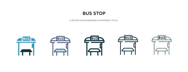 bus stop icon in different style vector illustration. two colored and black bus stop vector icons designed in filled, outline, line and stroke style can be used for web, mobile, ui