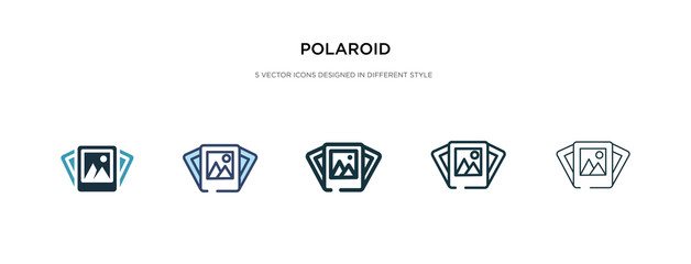 polaroid icon in different style vector illustration. two colored and black polaroid vector icons designed in filled, outline, line and stroke style can be used for web, mobile, ui