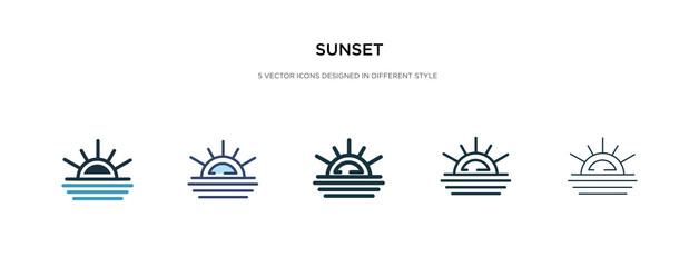 sunset icon in different style vector illustration. two colored and black sunset vector icons designed in filled, outline, line and stroke style can be used for web, mobile, ui