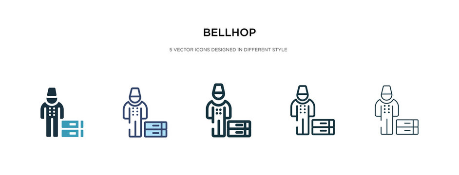 bellhop icon in different style vector illustration. two colored and black bellhop vector icons designed in filled, outline, line and stroke style can be used for web, mobile, ui
