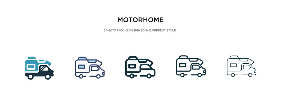 motorhome icon in different style vector illustration. two colored and black motorhome vector icons designed in filled, outline, line and stroke style can be used for web, mobile, ui