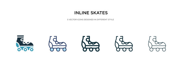 inline skates icon in different style vector illustration. two colored and black inline skates vector icons designed in filled, outline, line and stroke style can be used for web, mobile, ui