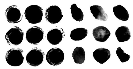 Abstract round black ink textured brush strokes isolated on a white background