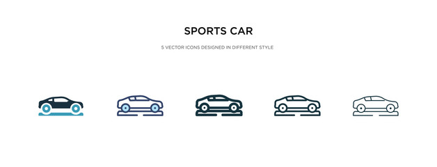 sports car icon in different style vector illustration. two colored and black sports car vector icons designed in filled, outline, line and stroke style can be used for web, mobile, ui