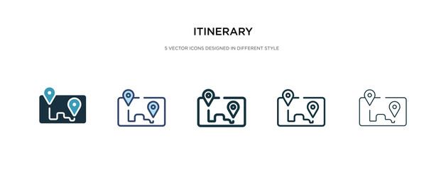 Fototapeta itinerary icon in different style vector illustration. two colored and black itinerary vector icons designed in filled, outline, line and stroke style can be used for web, mobile, ui obraz