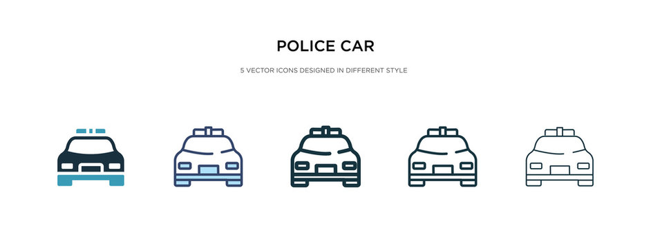 police car icon in different style vector illustration. two colored and black police car vector icons designed in filled, outline, line and stroke style can be used for web, mobile, ui