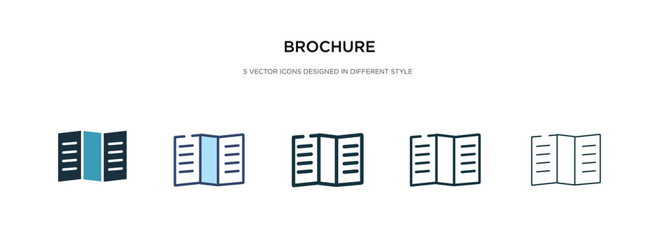 brochure icon in different style vector illustration. two colored and black brochure vector icons designed in filled, outline, line and stroke style can be used for web, mobile, ui