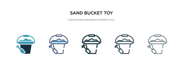 sand bucket toy icon in different style vector illustration. two colored and black sand bucket toy vector icons designed in filled, outline, line and stroke style can be used for web, mobile, ui