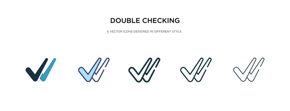 double checking icon in different style vector illustration. two colored and black double checking vector icons designed in filled, outline, line and stroke style can be used for web, mobile, ui