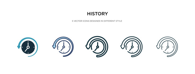 history icon in different style vector illustration. two colored and black history vector icons designed in filled, outline, line and stroke style can be used for web, mobile, ui Fotomurales