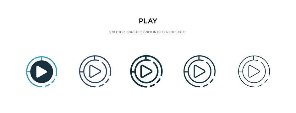 play icon in different style vector illustration. two colored and black play vector icons designed in filled, outline, line and stroke style can be used for web, mobile, ui