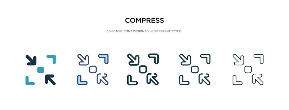 compress icon in different style vector illustration. two colored and black compress vector icons designed in filled, outline, line and stroke style can be used for web, mobile, ui