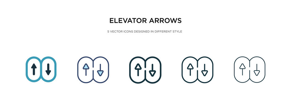 elevator arrows icon in different style vector illustration. two colored and black elevator arrows vector icons designed in filled, outline, line and stroke style can be used for web, mobile, ui