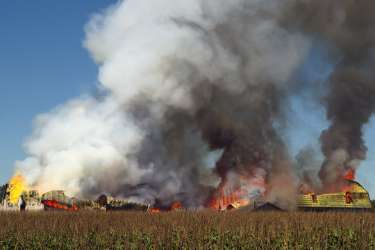 smoke fire explosion flame farm destruction disaster