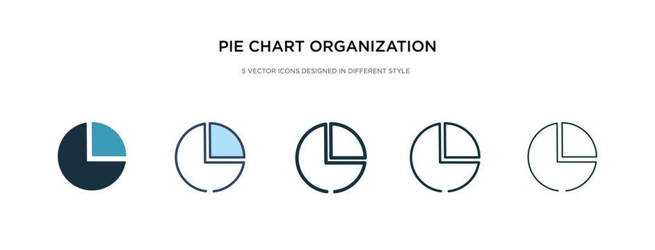 pie chart organization icon in different style vector illustration. two colored and black pie chart organization vector icons designed in filled, outline, line and stroke style can be used for web,