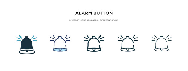 alarm button icon in different style vector illustration. two colored and black alarm button vector icons designed in filled, outline, line and stroke style can be used for web, mobile, ui
