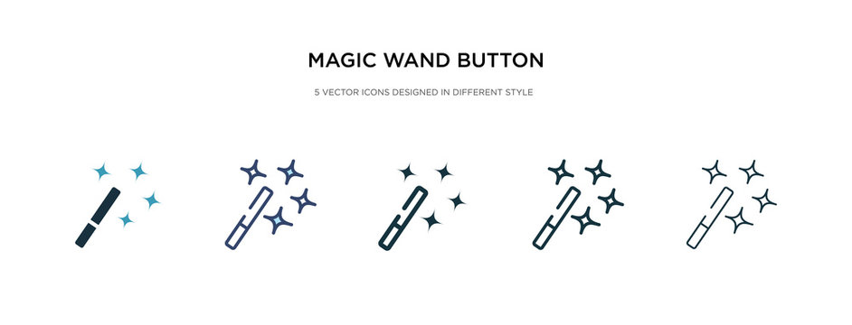 magic wand button icon in different style vector illustration. two colored and black magic wand button vector icons designed in filled, outline, line and stroke style can be used for web, mobile, ui