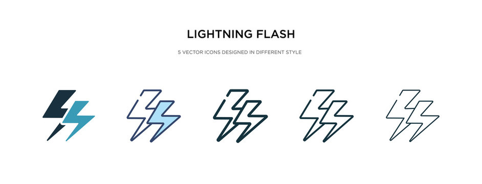 lightning flash icon in different style vector illustration. two colored and black lightning flash vector icons designed in filled, outline, line and stroke style can be used for web, mobile, ui
