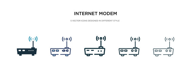 internet modem icon in different style vector illustration. two colored and black internet modem vector icons designed in filled, outline, line and stroke style can be used for web, mobile, ui