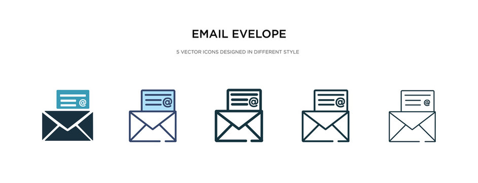 email evelope icon in different style vector illustration. two colored and black email evelope vector icons designed in filled, outline, line and stroke style can be used for web, mobile, ui
