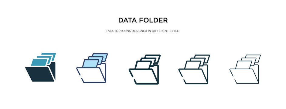 data folder icon in different style vector illustration. two colored and black data folder vector icons designed in filled, outline, line and stroke style can be used for web, mobile, ui