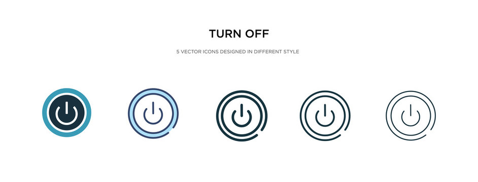 turn off icon in different style vector illustration. two colored and black turn off vector icons designed in filled, outline, line and stroke style can be used for web, mobile, ui