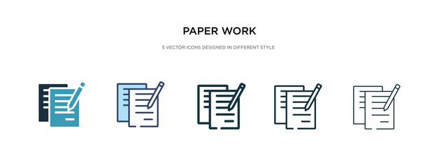 paper work icon in different style vector illustration. two colored and black paper work vector icons designed in filled, outline, line and stroke style can be used for web, mobile, ui