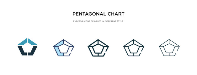 pentagonal chart icon in different style vector illustration. two colored and black pentagonal chart vector icons designed in filled, outline, line and stroke style can be used for web, mobile, ui