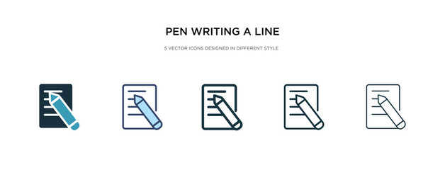 pen writing a line icon in different style vector illustration. two colored and black pen writing a line vector icons designed in filled, outline, line and stroke style can be used for web, mobile,