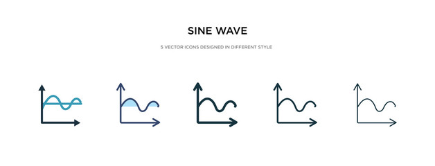 sine wave icon in different style vector illustration. two colored and black sine wave vector icons designed in filled, outline, line and stroke style can be used for web, mobile, ui