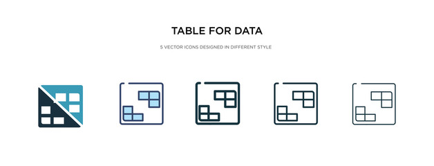 table for data icon in different style vector illustration. two colored and black table for data vector icons designed in filled, outline, line and stroke style can be used for web, mobile, ui