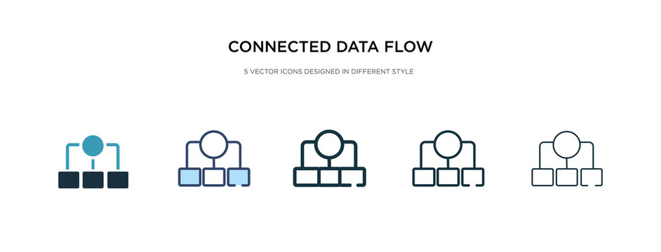 connected data flow chart icon in different style vector illustration. two colored and black connected data flow chart vector icons designed in filled, outline, line and stroke style can be used for