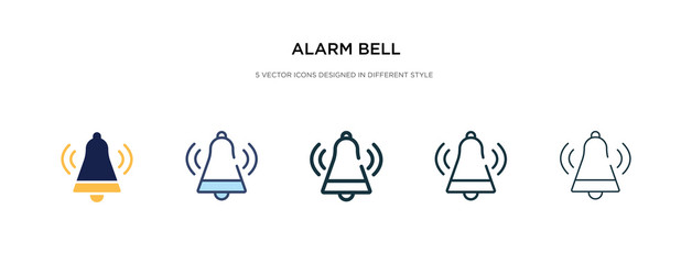 alarm bell icon in different style vector illustration. two colored and black alarm bell vector icons designed in filled, outline, line and stroke style can be used for web, mobile, ui