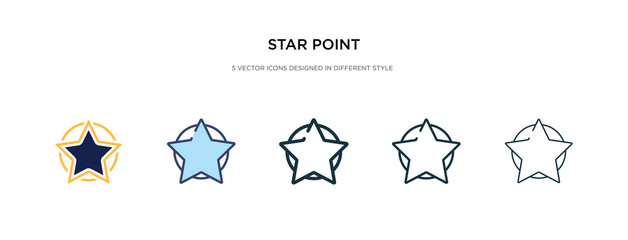 star point icon in different style vector illustration. two colored and black star point vector icons designed in filled, outline, line and stroke style can be used for web, mobile, ui