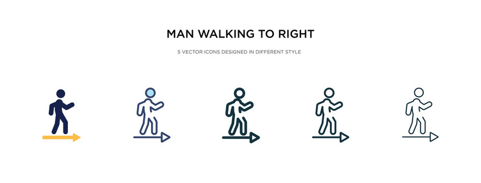 man walking to right icon in different style vector illustration. two colored and black man walking to right vector icons designed in filled, outline, line and stroke style can be used for web,
