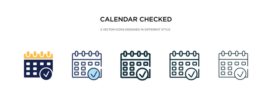 calendar checked icon in different style vector illustration. two colored and black calendar checked vector icons designed in filled, outline, line and stroke style can be used for web, mobile, ui