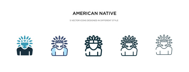 american native icon in different style vector illustration. two colored and black american native vector icons designed in filled, outline, line and stroke style can be used for web, mobile, ui