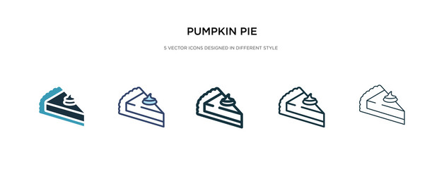 pumpkin pie icon in different style vector illustration. two colored and black pumpkin pie vector icons designed in filled, outline, line and stroke style can be used for web, mobile, ui