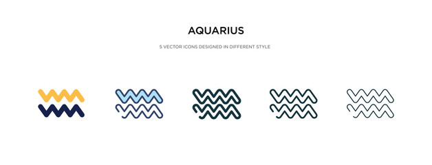aquarius icon in different style vector illustration. two colored and black aquarius vector icons designed in filled, outline, line and stroke style can be used for web, mobile, ui