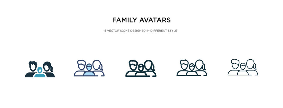 family avatars icon in different style vector illustration. two colored and black family avatars vector icons designed in filled, outline, line and stroke style can be used for web, mobile, ui