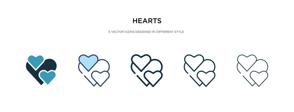 hearts icon in different style vector illustration. two colored and black hearts vector icons designed in filled, outline, line and stroke style can be used for web, mobile, ui