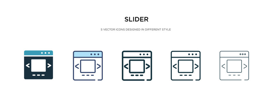 slider icon in different style vector illustration. two colored and black slider vector icons designed in filled, outline, line and stroke style can be used for web, mobile, ui