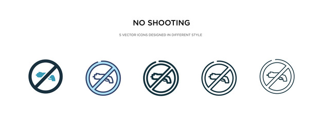 no shooting icon in different style vector illustration. two colored and black no shooting vector icons designed in filled, outline, line and stroke style can be used for web, mobile, ui