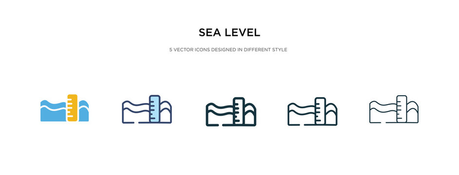 sea level icon in different style vector illustration. two colored and black sea level vector icons designed in filled, outline, line and stroke style can be used for web, mobile, ui