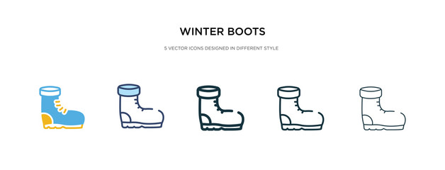 winter boots icon in different style vector illustration. two colored and black winter boots vector icons designed in filled, outline, line and stroke style can be used for web, mobile, ui Wall mural