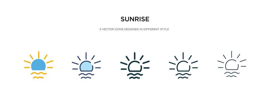 sunrise icon in different style vector illustration. two colored and black sunrise vector icons designed in filled, outline, line and stroke style can be used for web, mobile, ui